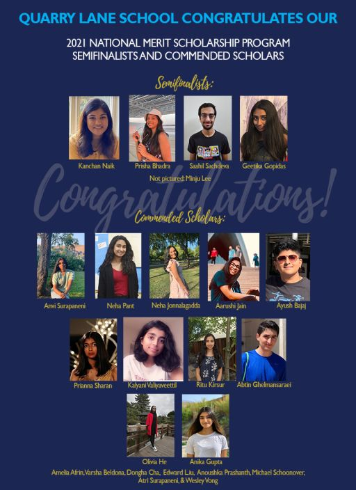 Quarry Lane Announces 5 Semifinalists and 19 Commended Scholars in 2021 National Merit Scholarship Program