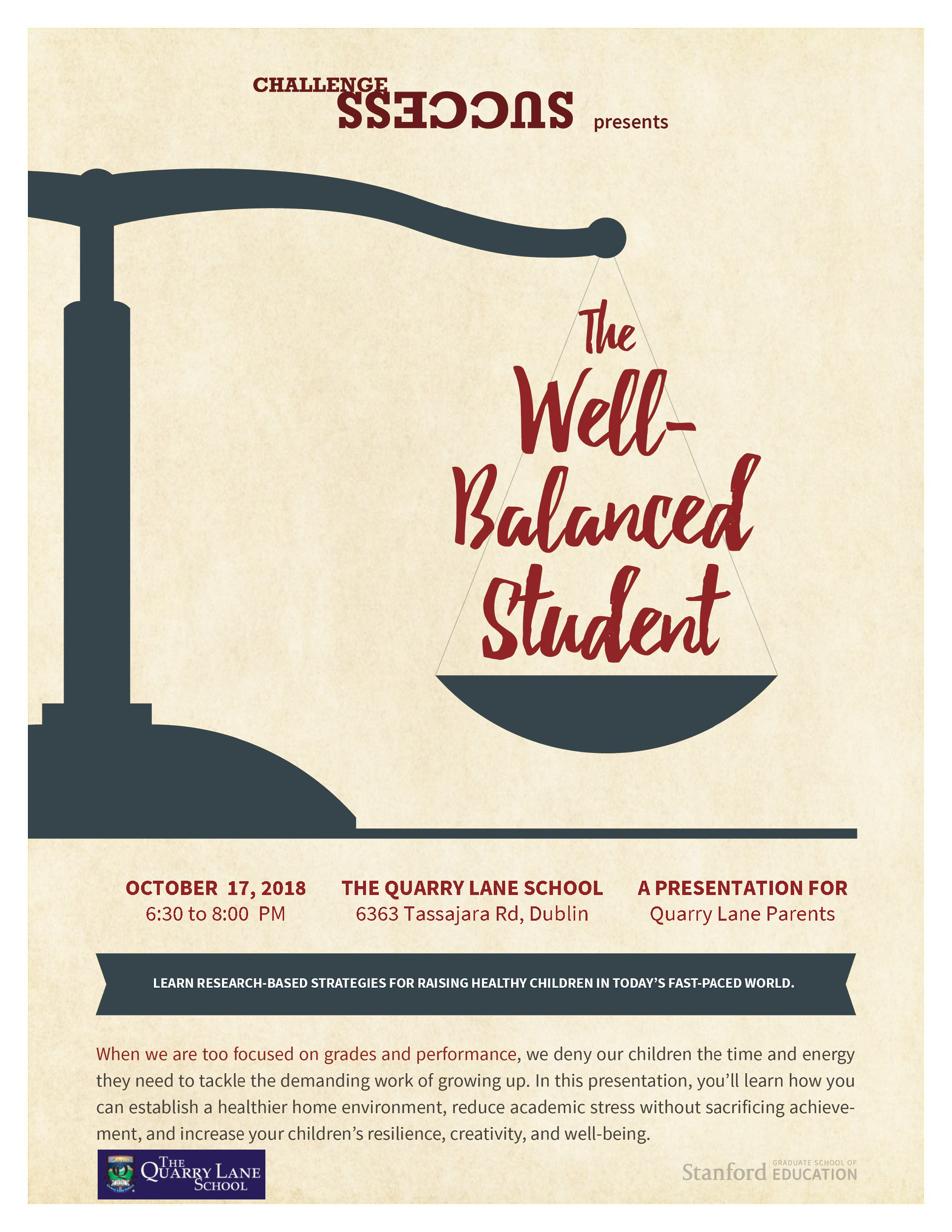 The Well Balanced Student by Challenge Success Quarry Lane School Speaker Series